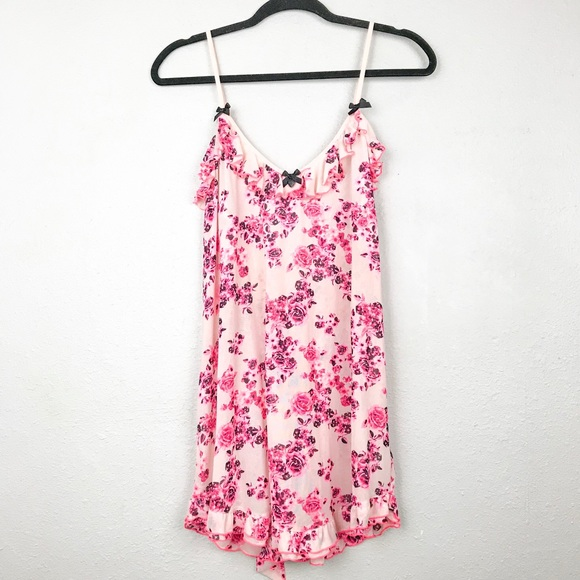 Betsey Johnson Other - Betsey Johnson Pink Floral Chemise Night Gown Sz M